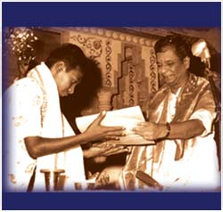 13 year-old Ravikiran was the youngest to receive the title, 'Nada Sudharnava' from Dr Balamuralikrishna, innovative musician and composer.