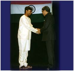 Being honoured by the Minister for Art & Culture in Prague, Czech Republic in 1997.