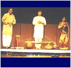 Ravikiran and Vellore Ramabhadran take their bows after their concert for Radio Koln, Germany in 1996.