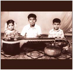 The Kiran siblings in 1976 - Kiranavali, Ravikiran & Shashikiran.