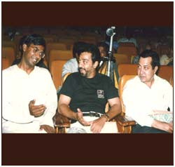 With film actor Kamal Hassan, and N Ram, Editor of The Hindu, in 1994.